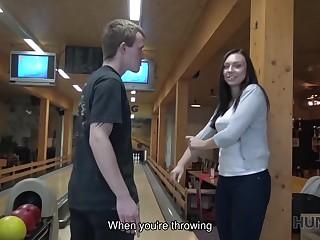 Declaratory helped tracker score successful strike in bowling bar