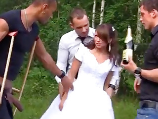 Russian bride enjoys an interracial gang-bang not at home