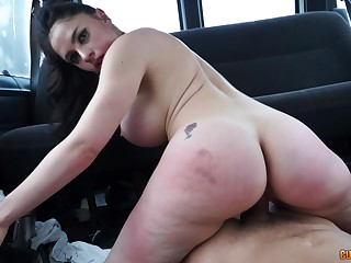Marta Shivering Croft rides a cock all about her huge about as wide a car