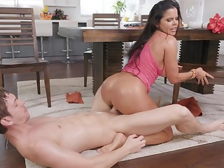 Busty nude beauty merciless fucked on the kitchen table
