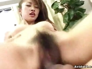Busty Japanese slut gets say no to Asian hairy pussy fucked