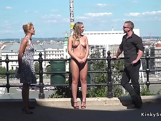 Horny blond bound with the addition of humped in public