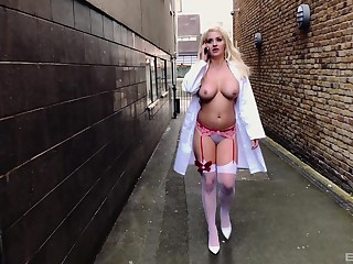 Unnatural horny nurse Sienna Day aggravation fucked and spanked outdoors