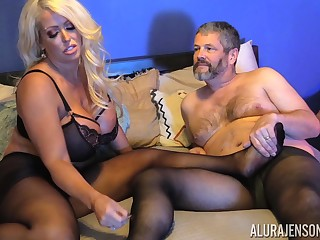 Buxom blonde MILF Alura Jenson gets cum on pantyhose after a fuck