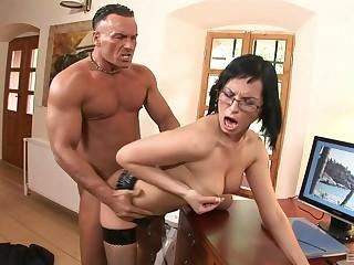 Slutty brunette secretary Aj swallows cum at the office