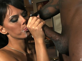Hardcore ass fuck from a big black dick and cum for Melanie Memphis