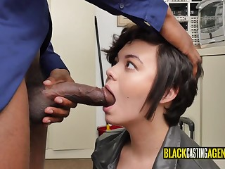 Interracial sex doggy-style with put emphasize boss