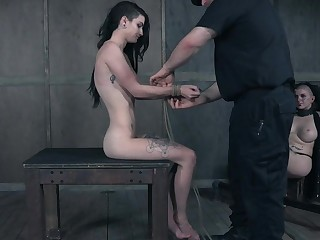 Skinny ungentlemanly pledged and hanged to more than a rope