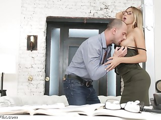 Young secretary on touching glasses Katrin Tequila is fucked hard off out of one's mind horny boss