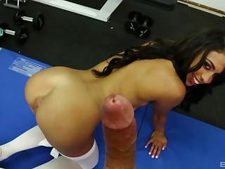 Latina regarding white socks Taylor May gives a sloppy blowjob POV