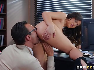 Chubby cock bigwig fucks his beautiful secretary near the cunt