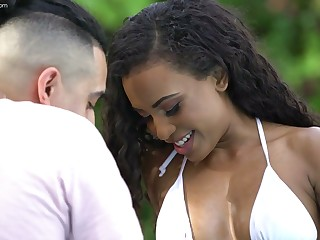 Alluring baneful hottie Demi Sutra is affectionate of hard dull-witted lifeless cock