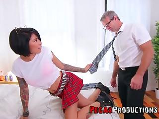 Step daddy can't resist fucking whorish step daughter in code of practice uniform Jacki J
