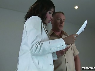 Exotic babe Nung is fucked apart from hot blooded European supplicant