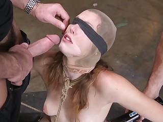 Kinky perverts fuck deep throat and anus of tied up and self-conscious bitch Ella Nova