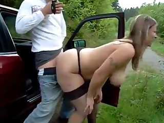 Busty untrained grumble with big naturals fucked outdoors by the car