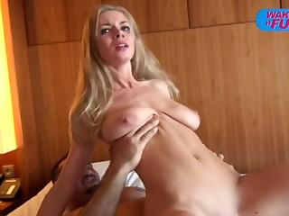 Busty blonde girl opens both holes to get transcribe penetrated