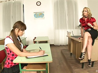Kathia Nobili and Lendsay have a threesome at work in uniforms
