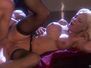 Busty festival MILF in stockings Rhylee Richards fucked hard missionary