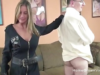 This is one naughty cop! She makes this guy strip down and fuck the brush tight hole