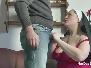 German Youngsters seduce Granny Nun to Enjoyment from Him