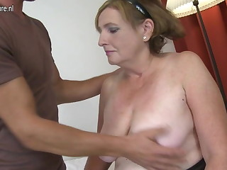 Granny fucked unconnected with young boy doggy appearance