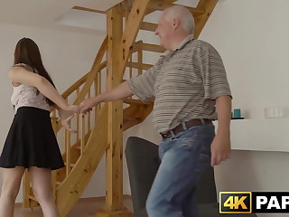 Redhead babe cheats on go steady with with his big dick father