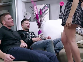 Brunette hustler Carolina Abril rides one guy and blows another involving heels