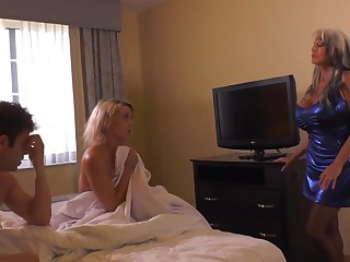 Insatiable blond damsel and her naughty pals are having a threeway, in a motel cell