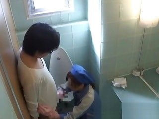 Asian toilet attendant cleans wrong part2