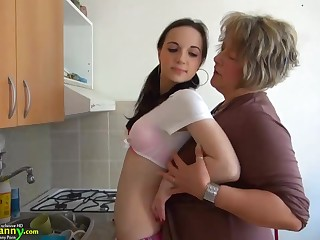 Old Granny With the addition of 18Yo Schoolgirl Nasty Girl Lesbian Sex