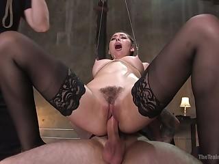 Wanton quite buxom submissive complain Melissa Moore rides long cock