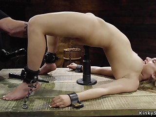Buxom blond hair babe slave connected with villeinage throne