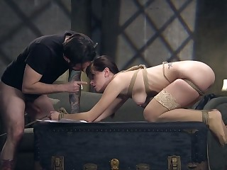 Tied up whorable bitch Alana Voyage deserves bondage and hard doggy