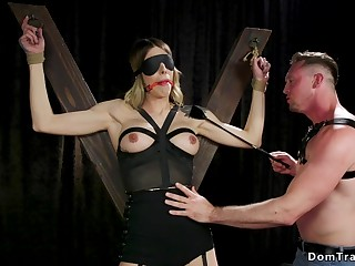 Shemale in bondage gets tormented
