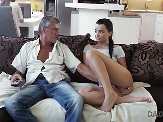 Ancient fart enjoys fucking cute stepdaughter's girlfriend Jessica
