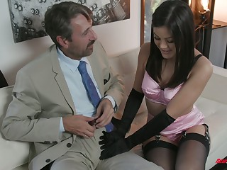 Sexy kept woman Kendra Spade gives a blowjob and gets her muff nailed