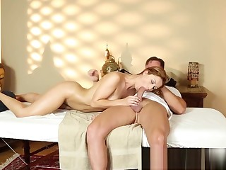 Shove around amateur babe gives nice bj to masseur