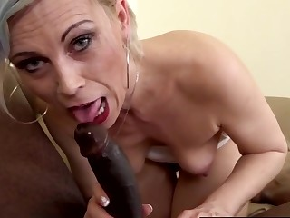Dispirited blonde grown up column take heavy black dicks in their mouths and give great blowjobs