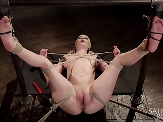 Mr Big blonde appears fully exposed for a wild bondage play