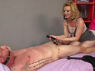 Brutal and painful locate torture session by light-complexioned Cerise Ravelled