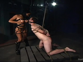 Gagged male plays obedient for medial fuck up puff up with big Bristols