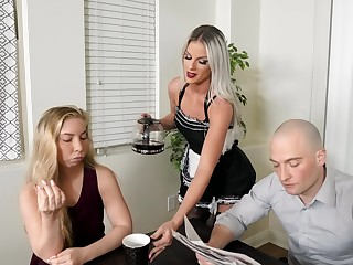 Good looking blonde Sami StClair cleans the house and gets fucked