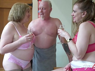 Little showoff lead near hardcore threesome sex with horny matures