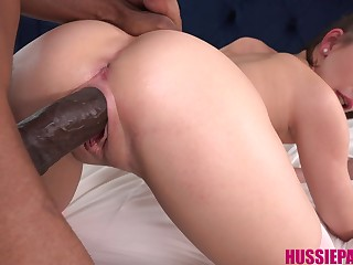 Zealous big bottomed uninspiring cutie Natalie Porkman feels great fucking with black stud