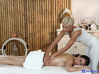 Energized babes are naked and set for more than just massage