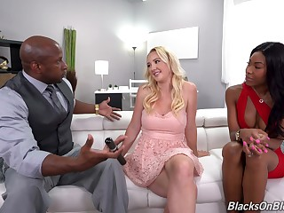 Jet-black dude fucks his wife Nadia Punch with an increment of erotic blondie Paisley Shipper