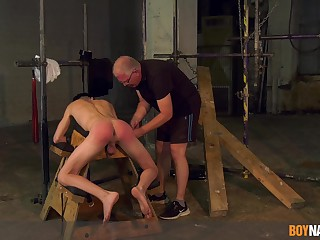 Twink endures venerable man's bushwa in crooked BDSM cam play