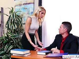 Long-legged secretary in stockings Khloe Kapri gets her pussy licked with the addition of fucked