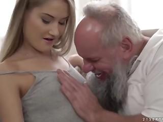 Nubile ultra-cutie vs older grandfather - Tiffany Tatum together with Albert